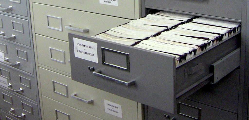 A drawer full of microfiche records