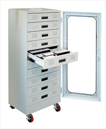 A storage for microfilm and microfiche records